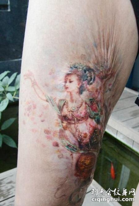 高贵优雅仙女遮疤效果纹身图案