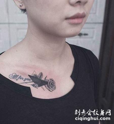 玫瑰锁骨纹身图案图片欣赏(图片编号:6773)_玫瑰花