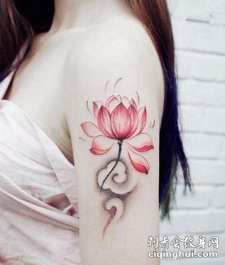 小荷花纹身图案个性图片