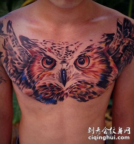 男士胸前个性猫头鹰