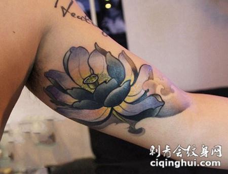 爱莲之始,手臂水墨莲花纹身图案