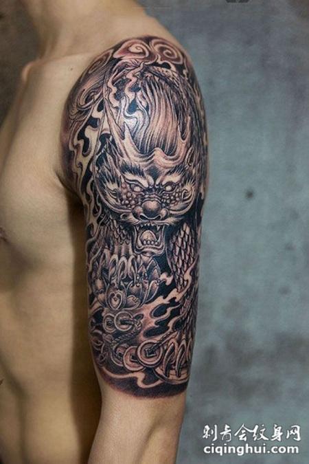 圣兽之王,手臂麒麟纹身图案