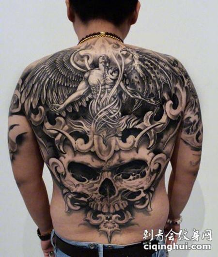 恶魔与天使,满背天使与骷髅纹身图案图片