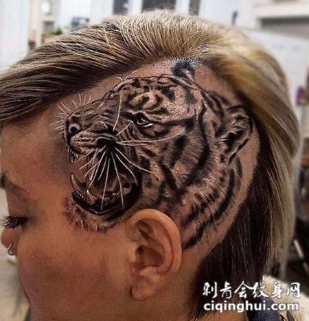 兽王咆哮,头部霸气虎头纹身图案