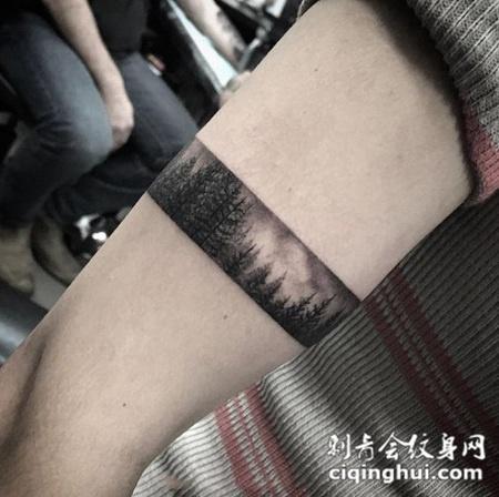 自然晨光,个性森林臂环纹身图案图片
