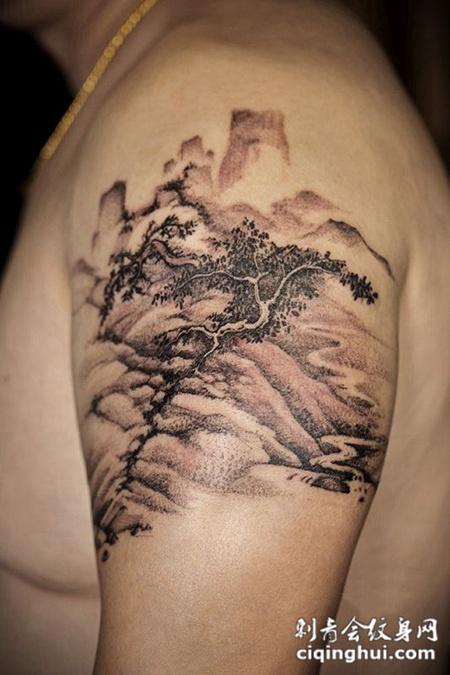 山路崎岖,手臂水墨风山水纹身图案