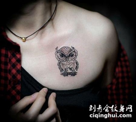 美女胸口猫头鹰纹身图案