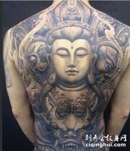 个性观音满背纹身图片写真图片