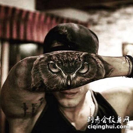 暗夜的守望者,手臂写实风猫头鹰纹身