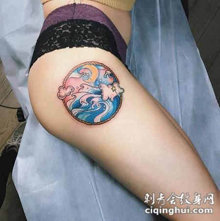 浪淘沙,大腿海浪彩绘纹身图案