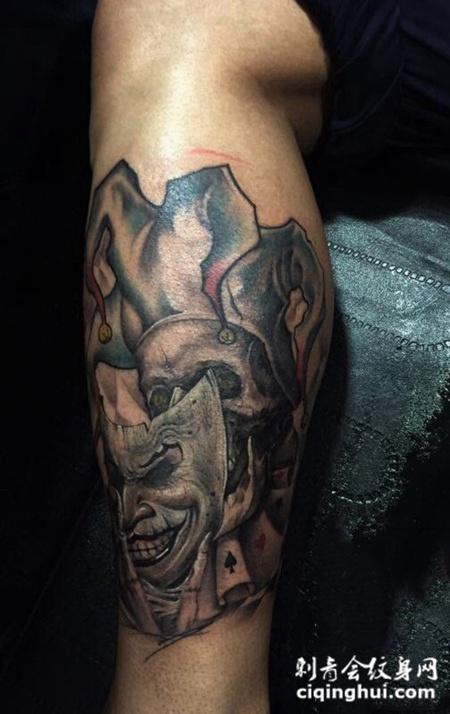 暗黑系风格,小腿黑暗小丑骷髅纹身图片