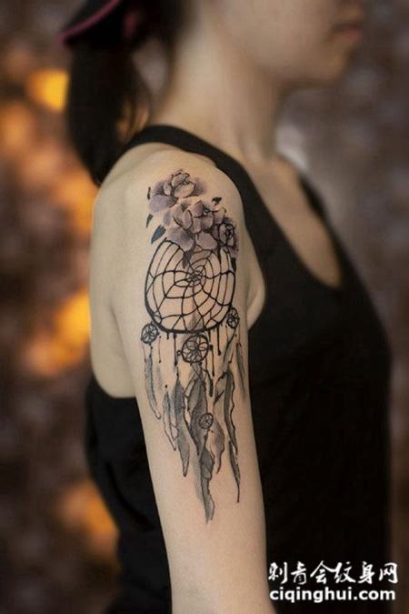自造的梦,手臂上的捕梦网纹身图案