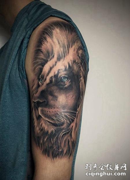 王者之心,手臂写实狮子纹身图案