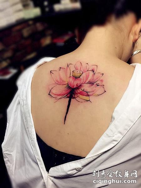 夏莲之花,后背美丽的莲花纹身