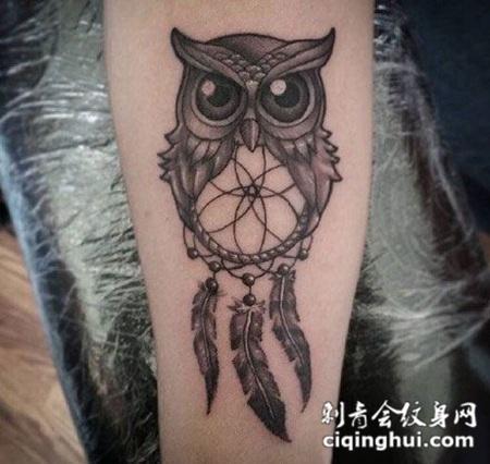 手臂上猫头鹰捕梦网纹身图案