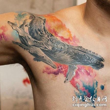 梦幻海洋,披肩鲸鱼水彩纹身