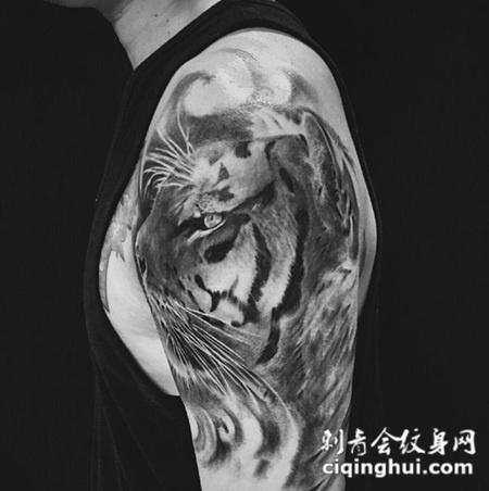 霸主的凝视,手臂写实虎头个性纹身