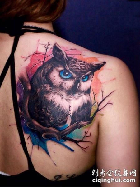 夜幕下的猎手,后背好看的猫头鹰彩绘纹身