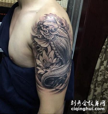 龙之末裔,手臂鳌鱼与莲花创意纹身