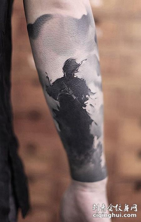 浪客之孤独,手臂水墨剑客创意纹身