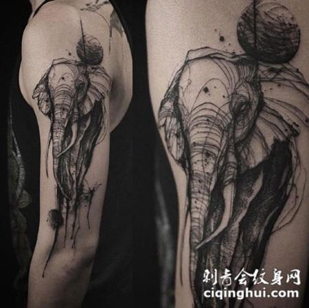 巨象星球,手臂大象速写风格纹身图案图片