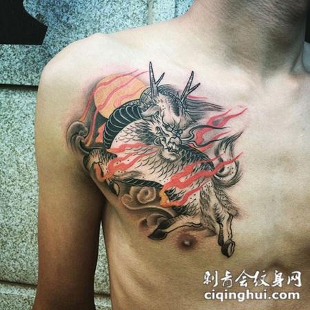 送福而至,胸部瑞兽麒麟个性纹身