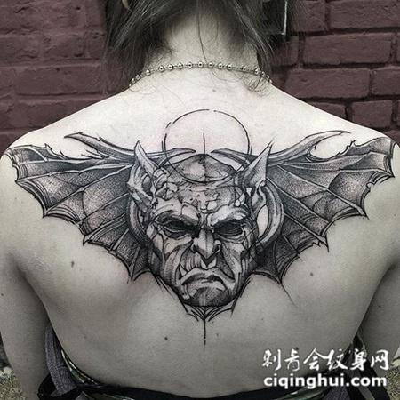 恶魔之翼,后背恶魔翅膀创意纹身图案图片