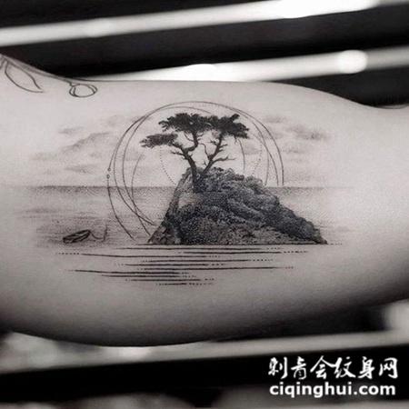 天涯海角,手臂唯美点刺山水风景纹身