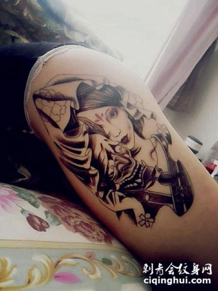 手臂艺妓般若面具纹身.图片