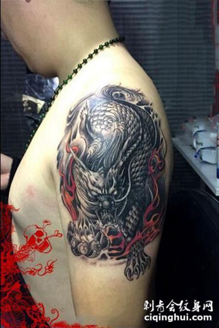 瑞兽兆吉祥,手臂霸气麒麟纹身