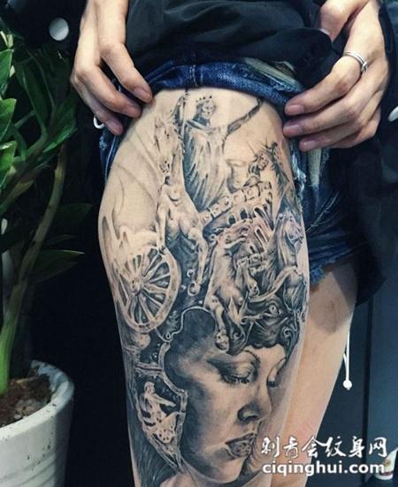 大腿个性又经典的肖像纹身