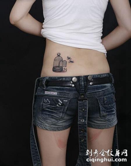 美女后腰鸟笼纹身图案