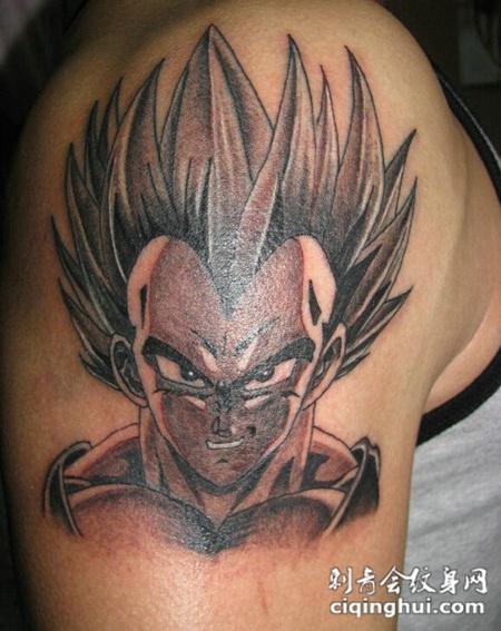 男士手臂七龙珠贝吉塔纹身图片