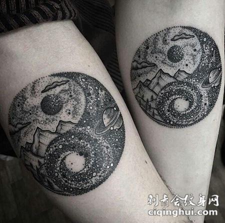 茫茫宇宙遇见你,情侣手臂好看的星空点刺纹身