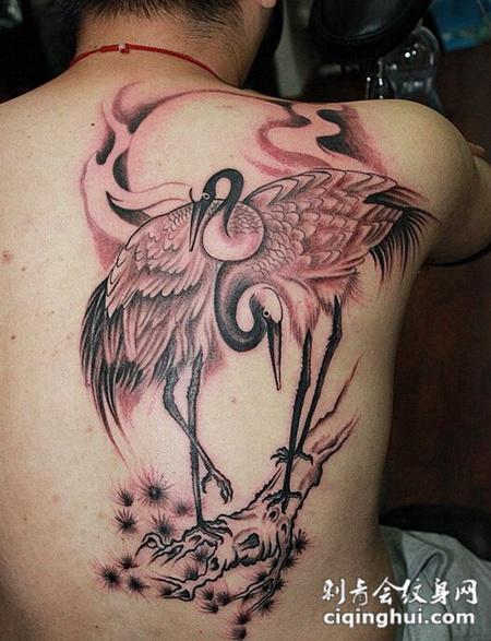 男士后背仙鹤纹身