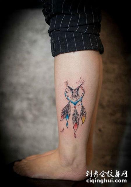 心有鹿首,腿部捕梦网纹身图案图片