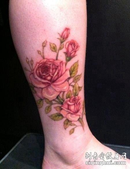 脚踝纹身玫瑰图案女生图片(图片编号:4962)_玫瑰花图片