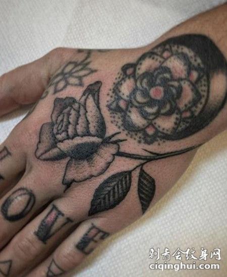 手背纹身玫瑰图片大全(图片编号:8071)_玫瑰花 - 刺青