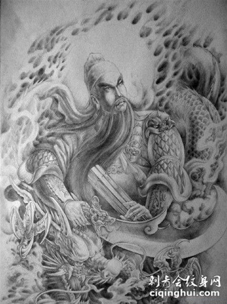 黑灰满背关公纹身图案大全手稿(1/1)