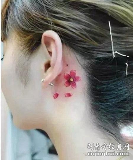 耳后浅色樱花纹身图案