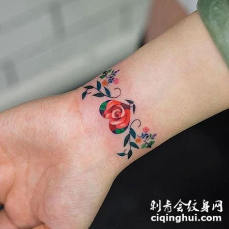 爱心手链,手腕鲜花手链彩绘纹身