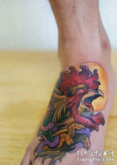 日出鸡鸣,脚背个性雄鸡彩绘纹身
