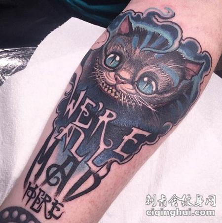 诡异的笑容,手臂newschool风格卡通笑脸猫彩绘纹身