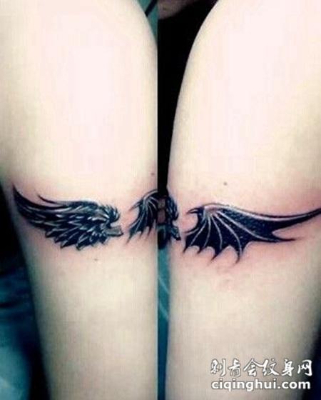 情侣手臂翅膀纹身小图甜蜜有爱
