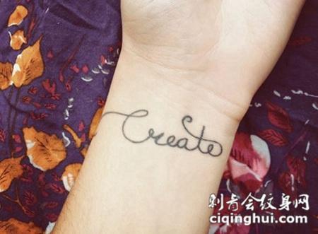 女生手腕漂亮英文字母纹身图案大全