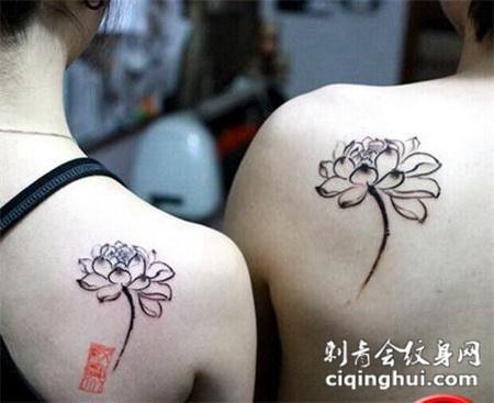 情侣肩部纹身图案大全甜蜜有爱