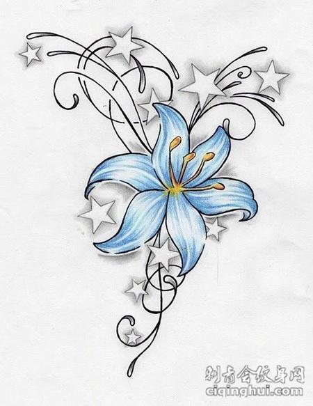 小清新彼岸花纹身图手稿图片