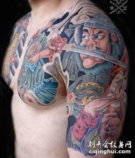 日式彩色半胛钟馗纹身图案