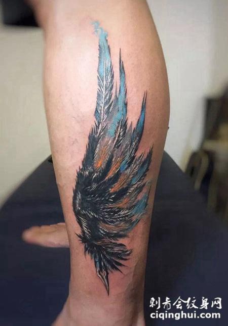 翱翔之翼,小腿好看的翅膀纹身图案