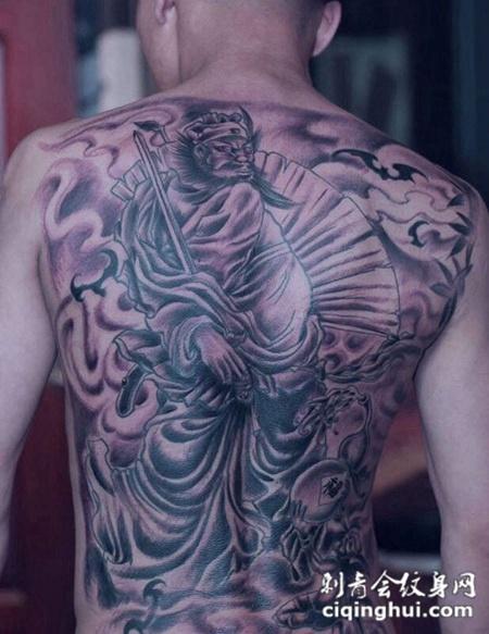 男士霸气满背钟馗纹身经典图案欣赏图片